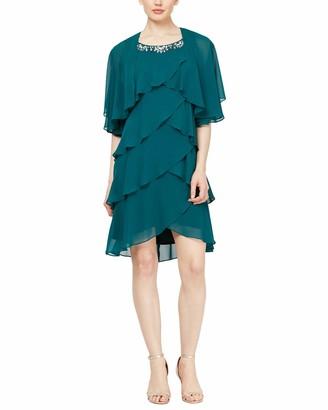 SL Fashions Women's Petite Chiffon Tier Jacket Dress with Bead Neck