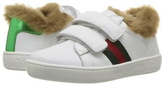 Gucci Kids New Ace Faux Fur Sneaker (Toddler) (Green/White) Kids Shoes