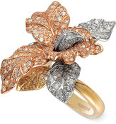 Effy Diamond Tri-Tone Flower Ring in 14k Gold (2-5/8 ct. t.w.)