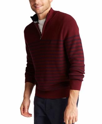 Nautica Men's Navtech Quarter-Zip Bretton Stripe Sweater