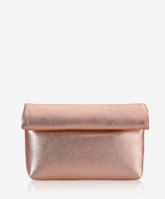 GiGi New York Lindsay Clutch, Rose Gold Metallic Goatskin Leather