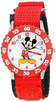 "Disney Kids' W001573 ""Time Teacher"" Mickey Mouse Stainless Steel Watch with Nylon Strap"