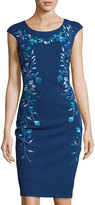 Jax Floral-Embroidered Sheath Midi Dress, Blue Pattern