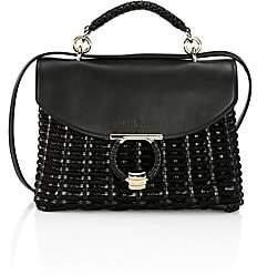 Salvatore Ferragamo Women's Small Leather-Trimmed Woven Top Handle Bag