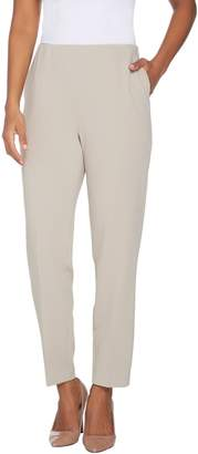 Dennis Basso Luxe Crepe Pull-On Straight Leg Pants - Petite