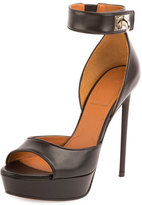 Givenchy Leather Shark-Lock Sandal, Black