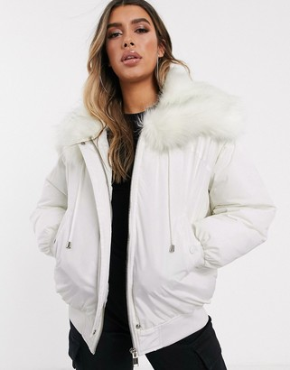 Sixth June oversized bomber jacket with faux fur hood-White