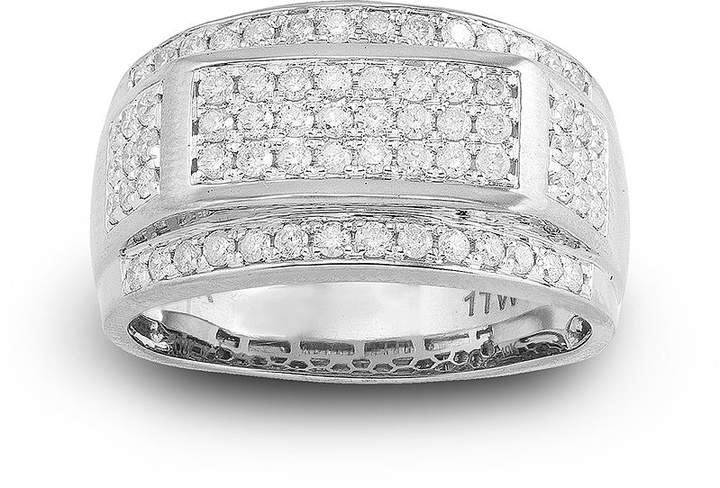 JCPenney FINE JEWELRY Mens 1 CT. T.W. Diamond 10K White Gold Frame Ring