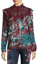 Roberto Cavalli Silk Floral-Lace Blouse