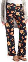 Glam Black & Orange Floral Straight-Leg Maternity Pants