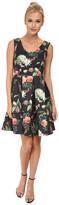 Yumi Botanical Posies Printed Dress w/ Box Pleated Flared Skirt