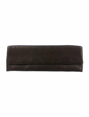 Rick Owens Leather Flap Clutch Brown