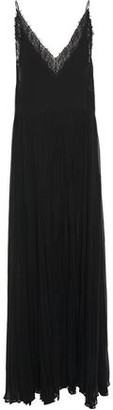 Jonathan Simkhai Layered Lace-trimmed Pleated Silk-crepon Gown