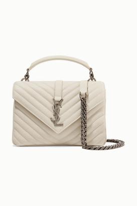 Saint Laurent College Medium Quilted Textured-leather Shoulder Bag - Ivory