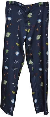 Fendi Navy Silk Trousers