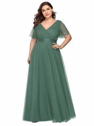 Ever Pretty Ever-Pretty Women's Elegant Double V Neck with Short Flutter Sleeve A Line Empire Waist Long Tulle Plus Size Prom Dresses Green 16UK