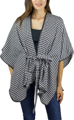Just Jamie Belted Houndstooth Ruana