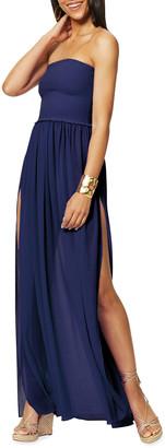 Ramy Brook Calista Smocked Strapless Side-Split Coverup Dress