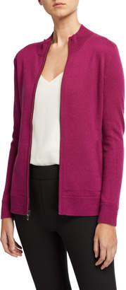 Neiman Marcus Cashmere Zip-Front Sweater