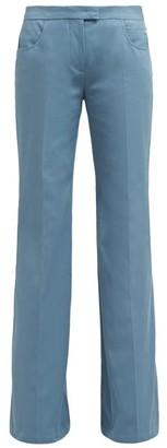 Françoise Francoise - Flared-leg Cotton-twill Trousers - Womens - Blue