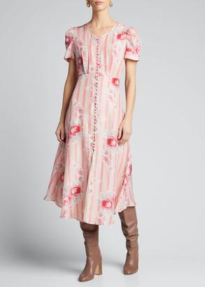 LoveShackFancy Patrice Striped Short-Sleeve Dress