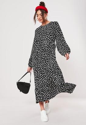 Missguided Tall Black Dalmatian Print Midi Smock Dress