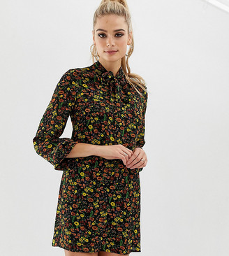 Fashion Union Tall pussybow shirt dress in floral