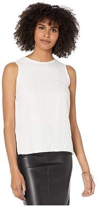 Majestic Filatures Linen Sleeveless Zip Back Tank Top (Milk) Women's Clothing