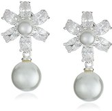 Nina Rhada Elegant Pearl and Cubic Zirconia Floral Drop Earrings