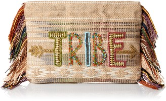 Ale By Alessandra Women's Tribe Beaded Clutch With Fringe Detail Accessory