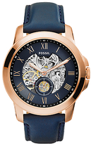 Fossil Me3054 Grant Skeleton Automatic Leather Strap Watch, Navy