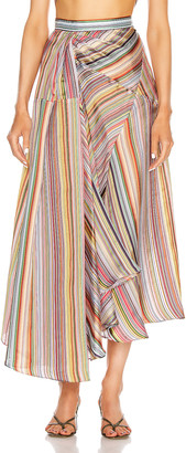 Rosie Assoulin Asymmetrical Volume Skirt in Rainbow | FWRD