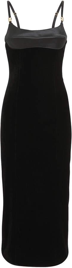 Brandon Maxwell Strapless Velvet Bustier Dress