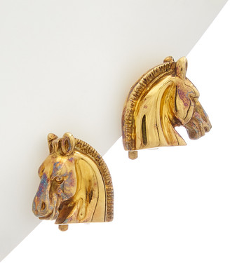Hermes Gold-Plated Horsehead Earrings