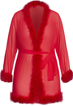 City Chic Marabou Trim Short Robe - red