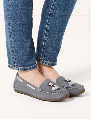 Marks and Spencer Wide Fit Leather Tassel Boat Shoes