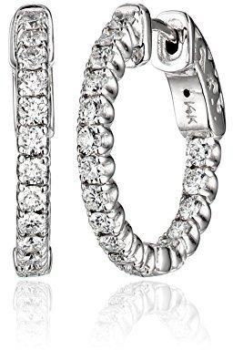 "KC Designs Eternity Hoops"" Diamond 14k White Gold Hoop Earrings , 1.12 cttw"