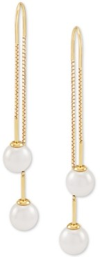 Honora Cultured Freshwater Pearl (7mm) Threader Earrings in 14k Gold