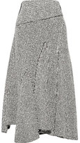 3.1 Phillip Lim Asymmetric Frayed Bouclé Midi Skirt - Gray