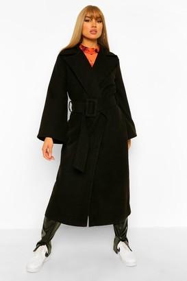 boohoo Self Belt Wide Sleeve Wool Look Coat
