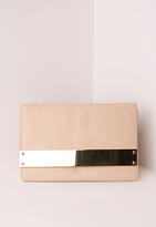 Missguided Metal Plate Clutch Bag Nude