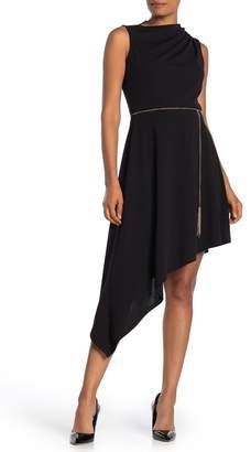 TASH + SOPHIE Asymmetrical Hem Chain Belt Sleeveless Dress (Regular & Plus Size)
