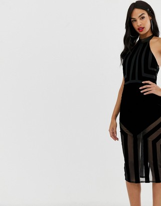 ASOS DESIGN Flocked Stripe Bodycon Midi Dress