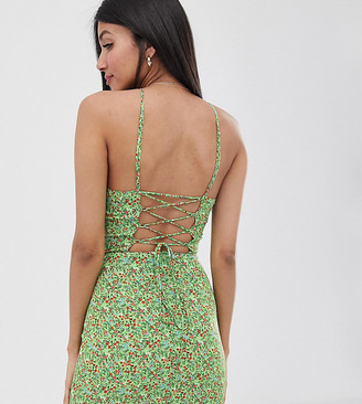 Fashion Union Tall mini dress with high halter neck in ditsy floral-Green