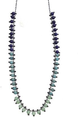 Ten Thousand Things 18 Inch Ombre Beaded Oxidized Sterling Silver Necklace