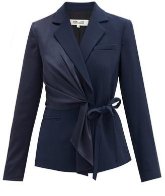 Diane von Furstenberg Lucina Tie-front Crepe And Twill Jacket - Navy