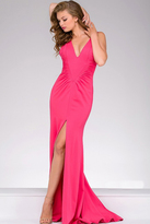 Jovani Long V Neck High Slit Prom Dress 42038