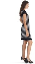 White House Black Market Short Sleeve Stripe Keyhole Dress