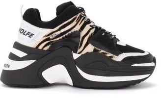 Naked Wolfe Track Sneaker In Black And White Crocodile Print Leather