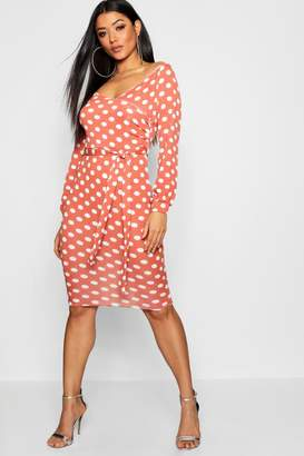 boohoo Polka Dot Off The Shoulder Rouched Sleeve Dress